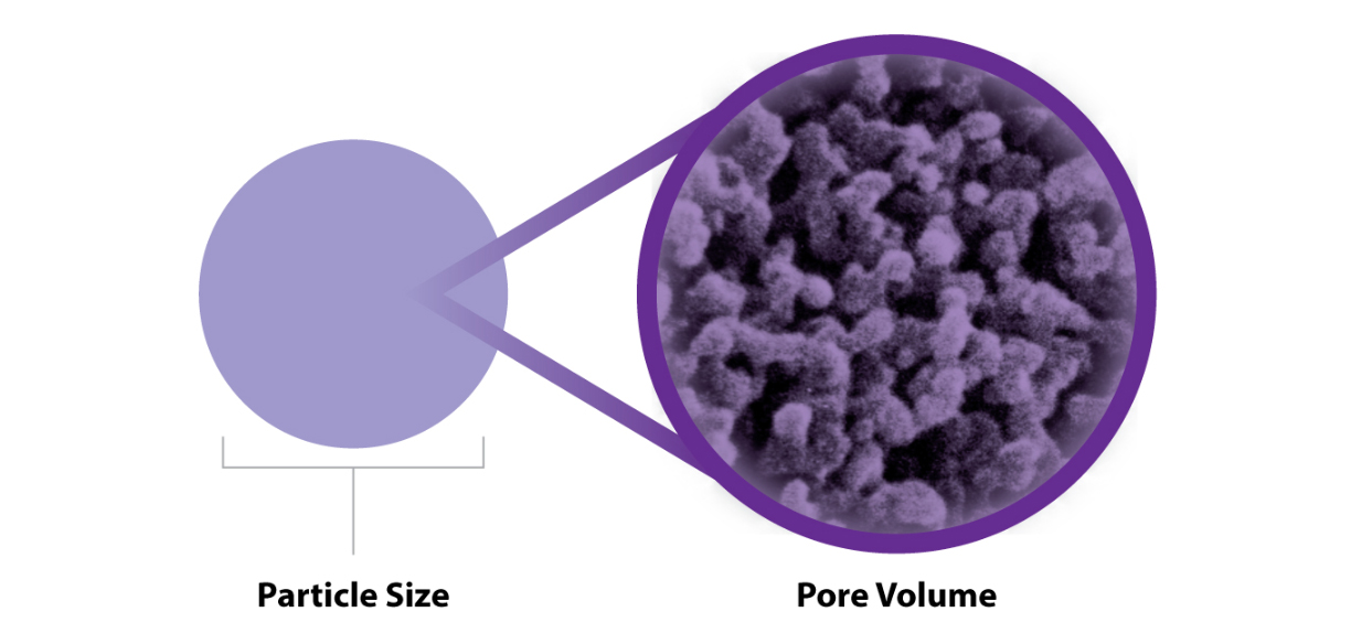 Particle Size / Pore Volume chart
